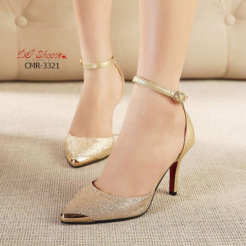 รองเท้าคัชชู ส้นสูง สีทอง