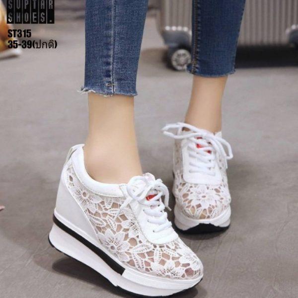 รองเท้าผ้าใบเสริมส้นผ้าลูกไม้ลายดอกไม้