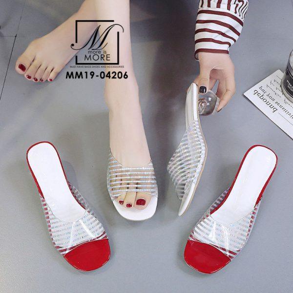 รองเท้าส้นเตี้ยดีเทลพลาสติกใสแบบนิ่มไม่บาดเท้า