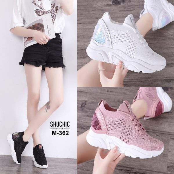 รองเท้าผ้าใบเสริมส้นสไตล์เกาหลี งานสวยมากก