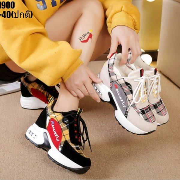 รองเท้าผ้าใบเสริมส้นเกาหลี2020