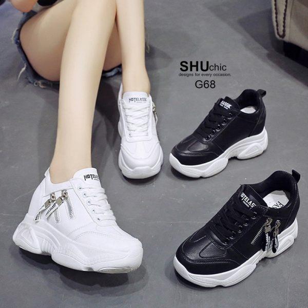 รองเท้าผ้าใบเสริมส้นแต่งซิปข้างน่ารัก