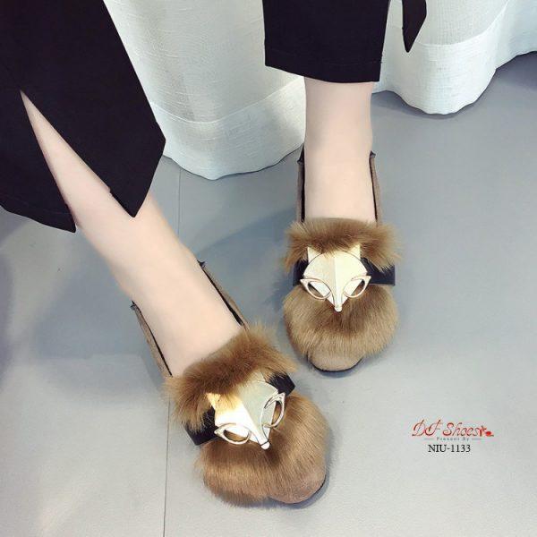รองเท้าคัชชูส้นเตี้ยวัสดุหนังชามัวร์2020