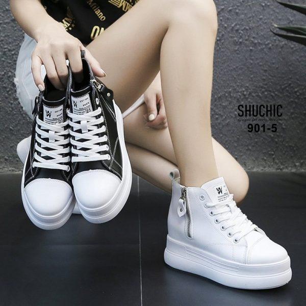 รองเท้าผ้าใบสไต์คอนเสริมส้นสุดชิค ส้น 1.5นิ้ว