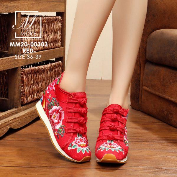 รองเท้าผ้าใบจีนปักลายดอกไม้งานปัก