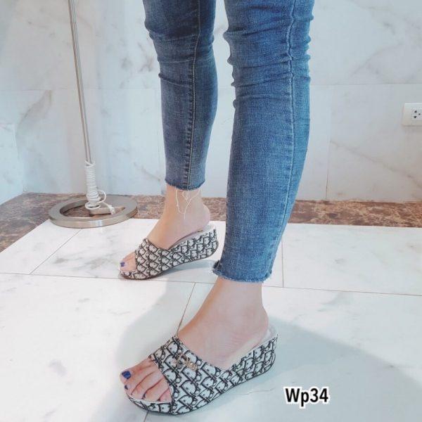 รองเท้าส้นเตารีด วัสดุผ้าพิมพ์ลาย Dior