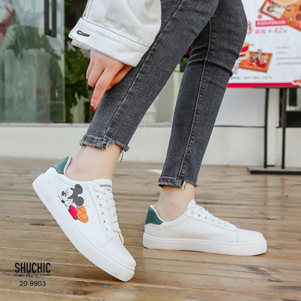 รองเท้าผ้าใบ สกีนข้างอย่างดีลายมิ๊กกี้น่ารัก