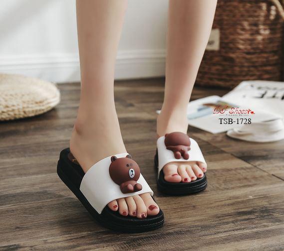 รองเท้าแตะหมีบราวน์วัสดุหนัง PU