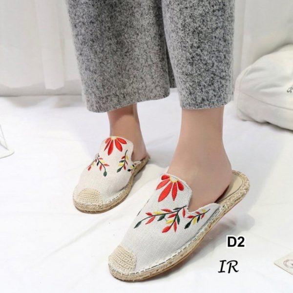 รองเท้าแบบสวมเปิดส้นแคนวาสปักดอกไม้น่ารักสดใสรับซัมเมอร์