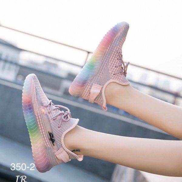 รองเท้าผ้าใบแต่งพื้นสีรุ้งงานผ้านิ่มคุณภาพดี